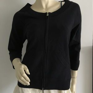 Talbots Tops - New Talbots Petite navy zippered jacket 3/4 sleeve